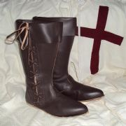 Brown Leather Medieval Boots with Laces
